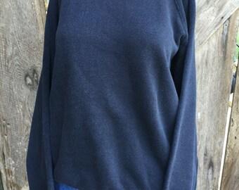 Vintage 80s black raglan made in usa slouchy oversized pullover sweatshirt womens unisex