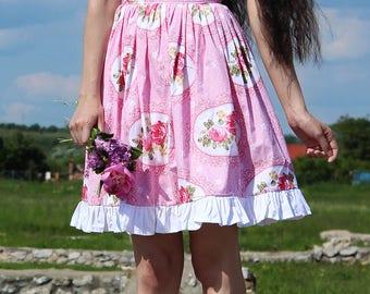 Pink Skirt, Short Skirt, Summer Skirt, Floral Skirt, Flower Skirt, Lolita Skirt, Bell Skirt, Knee Length Skirt, Cute Skirt, Feminine Skirt