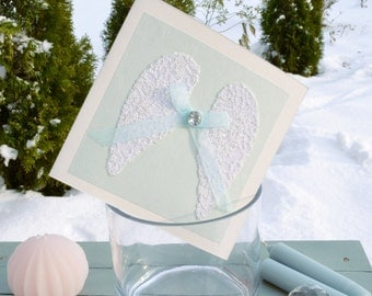 Christmas Card Angel Wings, Winter Cards, Christmas Card by Post