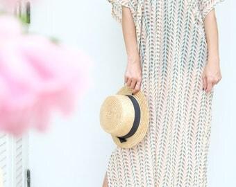 Beige Bird Strip Chiffon Beach Dress Swimsuit Bikini Cover Up | Casual Maxi Short Sleeve Dress | Spring/Summer Dress