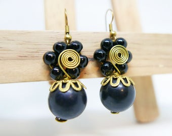 Black Pearl Bead Charm Drop I Gold Coiled Wire Dangle Earrings Handmade Jewelry Brass Wire I Hook