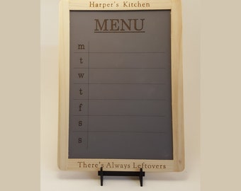 Laser Engraved Weekly Menu Chalkboard-  Personalized Kitchen Decor