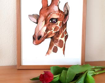 A5 Print Giraffe / watercolorprint, art, print, illustration, limited
