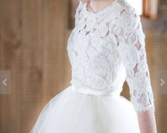 Wedding dress, wedding gown, Bridal wedding dress, lace, separate boho wedding, tulle skirt, lace top bride, bridesmaid dress