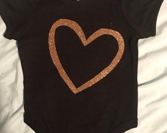 glitter heart onesie