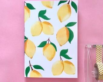 Lemon A5 Notebook, Handmade Sketchbook, Stationery Gift, Blank Lined Notebook