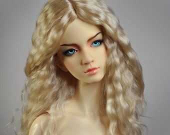 "Sunny Blonde - natural Angora BJD wig - Size 8-9"" - Ready for shipping"