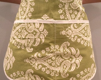 Green Damask Half Apron - green damask half apron white kitchen cook