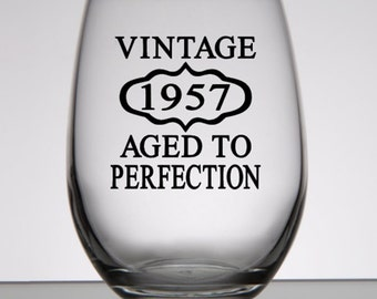 60th Birthday Gift, Vintage 1957, Aged to Perfection, Birthday Rocks Glass, Moms 60th, Dads 60th, Woman's 60th, 60th Party Favors
