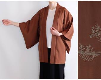 Vintage Haori - Traditional Japanese Kimono - Silk Kimono - Brown Kimono - Oriental Vintage - Kimono Cardigan - Authentic Japanese Kimono