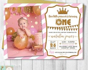 Tiara Birthday Invitation Card, Princess Birthday Invitation, Princess Party, Invite With Picture, Pink & Gold Glitter, Digital Printable