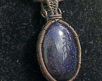 Blue Sandstone and copper necklace