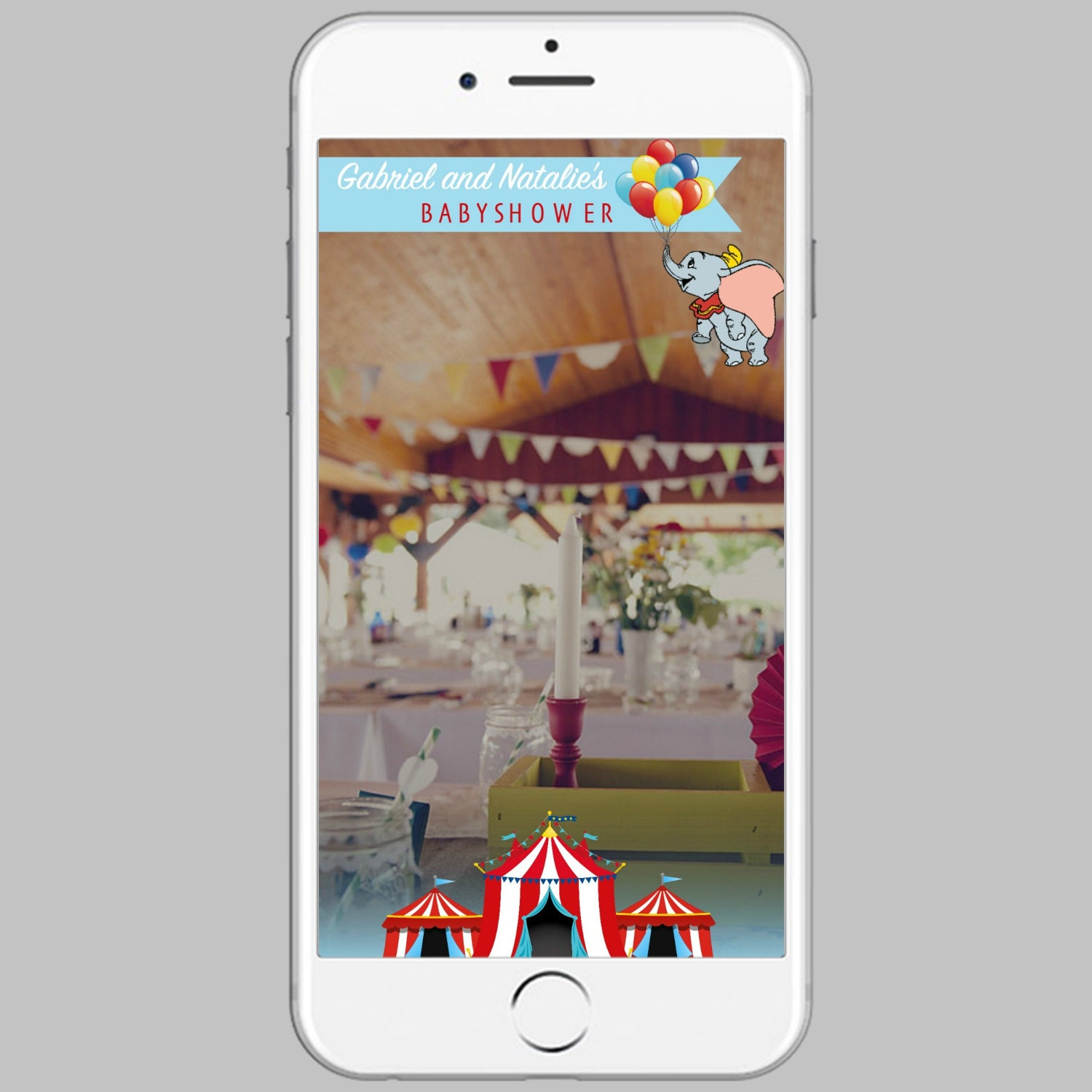 Circus Geofilter Dumbo Geofilter Baby Shower Fully