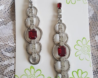 Dramatic Dangle Rhinestone and Ruby colored Earrings Pierced  3 inches long Vintage