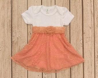 Baby Girl Dresses, Newborn Dress, Baby Wedding Outfit, First Birthday Dress,  Peach Baby Dress, Lace Infant Dress, Infant Flower Girl Dress