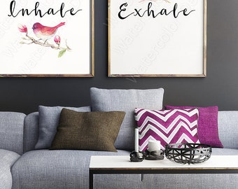 Set of 2 Inhale and Exhale Typography Watercolor Art Prints - Gift For Her - Yoga Quote - Breath Art - Meditation Art Wall Decor