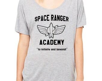 Disney Shirts Ladies Slouchy Tee Buzz Lightyear Shirt Space Ranger Academy Shirt Toy Story Shirt Disneyland Shirt Disney World Shirt Pixar