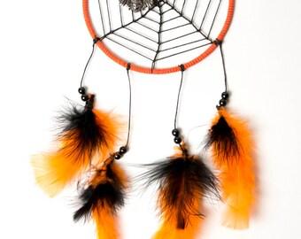Orange and Black Spider Web Dream Catcher