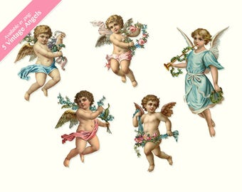 Vintage Little Angels Clip Art, digital artwork, collage, scrapbooking, paper craft and much more SALE