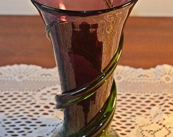 Blown Glass Vase, Amethyst Coloured Vase, Purple And Green Glass Vase, Art Glass