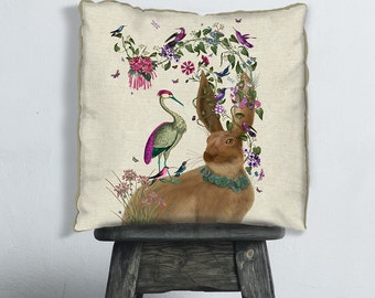 Hare pillow cover - Heron Pillow cover  hare Cushion throw pillow colourful cushion cover rabbit pillow cover Bird Décor scatter cushion