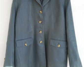 Laura Ashley beautiful 100% linen jacket retro vintage 80 blue spring T42 TBE