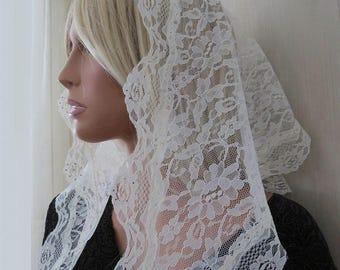 Ivory Lace Crystal Trim Mantilla Style Chapel Veil Trad Catholic