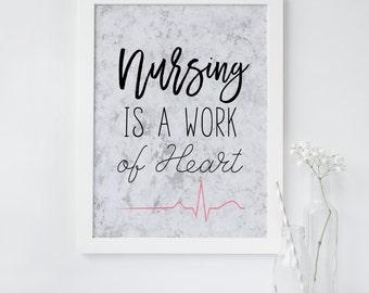 Nursing wall art, Nurse gift, Nursing is a work of heart, Quote, Marble print, Cardiogram, Modern, Minimalist, Office, Dorm, Planner decor