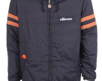 Vintage 80s Ellesse Autumn jacket Remake Color Block Navy Blue/Orange Size L