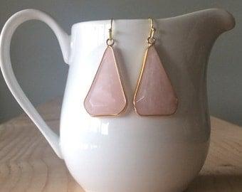 Rose Quartz Drop Earrings, Triangular