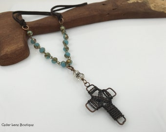 """Copper Wire Cross Necklace/Crystal Bead Chain/Leather Necklace/Christian Jewelry/18"""" Necklace/Multicolor Bead Necklace/Gift for Her"""