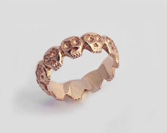 14K Rose Gold Skull Ring, Skull Wedding Ring, Gothic Wedding Ring, Skull Wedding Band, Skull Eternity Ring, Gold Stacking Ring, Promise Ring