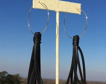 Black Leather/ Leather Tassel/ Tassel Earrings/ Gold Hoop Earring/ Tassel Hoop Earrings