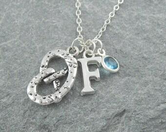 Pretzel necklace, silver pretzel pendant, initial necklace, swarovski birthstone, food jewelry, gift for baker, personalized jewelry