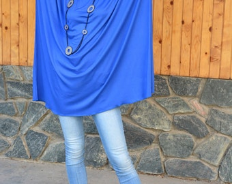 Plus Size Tunic, Blue Tunic, Plus Size Top, Casual Top, Loose Tunic, Long Sleeved Top, Oversized Tunic, Party Tunic Top, Danellys  D16.08.19
