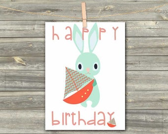 DIGITAL CARD Happy Birthday rabbit download card Greeting Card for boy