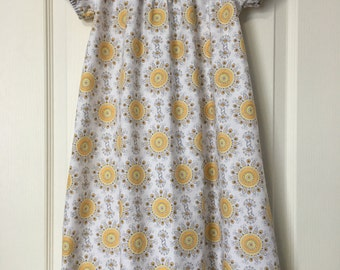 Size 4/5, Childs Nightgown, Girls Nightgown, Premium Cotton Nightgown, One Of A Kind, Sunshine Print