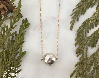 """Minimalist Rose Gold & Sterling Silver """"Disco Ball"""" 18"""" Layering Necklace - Simple Elegant Handmade Jewelry Crafted in the Pacific Northwest"""