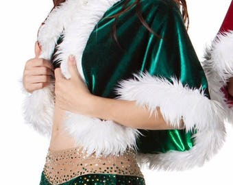 Flirty Green Velvet Lycra 3PC DANCE COSTUME with Rhinestones and Cape  Adult-M