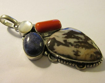 Artisan Multi-Gemstone Jasper-Red Coral-Pearl-Lapis Pendant with Bail, 3""