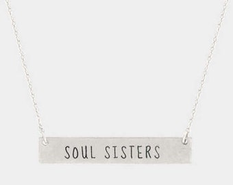 SOUL SISTERS bar necklace Silver