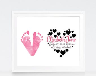 Baby Girl Nursery Wall Art - Baby Nursery Decor - Baby Footprint Wall Art - Actual Baby Impressions Print - New baby Gift - New parents gift