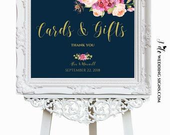 Cards And Gifts Sign, Wedding Printable, Navy Wedding Sign, Floral Wedding Sign, Navy Gold & Blush Pink Peonies, PDF JPG, SKU# IDWS502_1113C