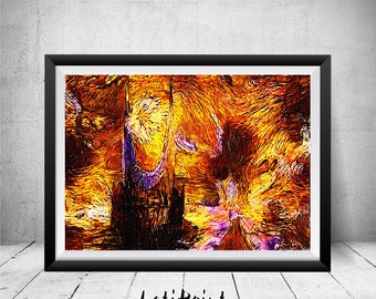 Lord of the Rings Art, Mordor, Eye of Sauron, Starry Night, Lord of the Rings Print, Wall Art Decor, Posters, Two Towers, Hobbit, The Hobbit