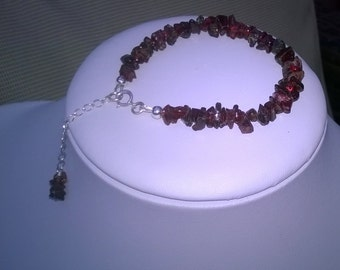 NEW - Rough Garnet and sterling silver bracelet