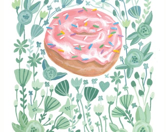 Donut Doughnut Illustration, Bakery Art, Pink Donut, Pastry Art, Donut Illustration, Pink Sprinkles Art Print 5x7