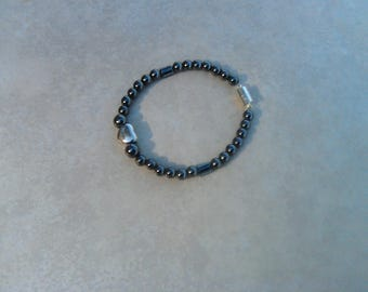 Hematite and Silver Heart Bracelet