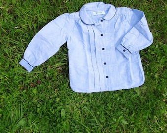 Boy toddler shirt cotton flannel shirt blue 3T 4T spring shirt peter pen collar long sleeve for a toddler boy vintage french 1970s 3T 4T