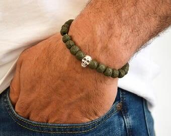 Men's Lava Beaded Bracelet Human Skull, Men's Bracelet, Lava Bracelet, Human Skull Bracelet, Men's Jewelry, Gift for Him, Made in Greece,