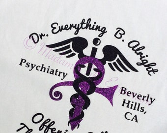 Prince Let's Go Crazy T-shirt Dr. Everything B. Alright Shrink in Beverly Hills Psychiatrist Purple Rain